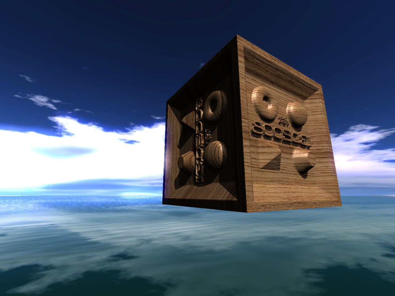 The rendered cube consists only of 6 faces however the intersection between the camera rays and the heightfield data applied on the cube is computed in the shaders. osgPPU is used to precompute the datastructure for the while rendering. Also osgPPU is used to render the HDR effects here.